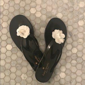 NEW!! kate spade black flip flops!!